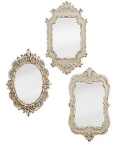 Set of 3 Antiqued Vintage Style Mirrors above the bed with frames, $43 for set of 3