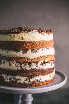 This Tiramisu Crunch Cake has layers of vanilla cake, espresso syrup, mascarpone frosting and a cocoa crumble plus how to enter the Lancewood Cake-Off! Cupcakes, Cupcake Cakes, Just Desserts, Delicious Desserts, Yummy Food, Italian Desserts, Baking Recipes, Cake Recipes, Dessert Recipes