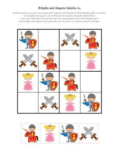 Knights and Dragons Sudoku {free printables} - Gift of Curiosity Sudoku Puzzles, Puzzles For Kids, Thinking Skills, Critical Thinking, Puzzles And Dragons, Body Preschool, St Georges Day, English Worksheets For Kids, Toddler Activities