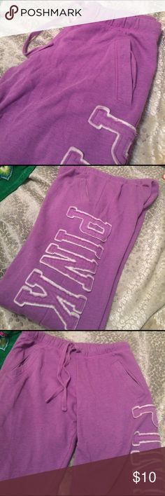 Victoria's Secret boyfriend sweatpants Purple boyfriend style vs pink sweats. Used condition, small stain and fading at bottom of sweatpants (see last pic) boyfriend style fit means long length, could easily cut off bottom and re-hem still with good length to pants. Two front pockets PINK Victoria's Secret Pants