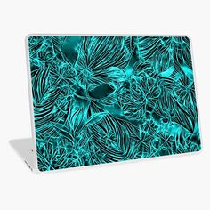 """""""Abstract azure green flowers, emerald floral pattern"""" Laptop Skin by cool-shirts 
