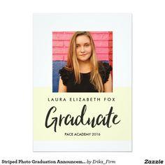 Striped Photo Graduation Announcement