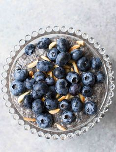 Chia Pudding with Blueberries and Almonds — This breakfast pudding is EASY to make, no cooking needed! It's loaded with fiber, protein, and antioxidants. Perfect for a healthy breakfast! Gluten-free, dairy-free, and vegan