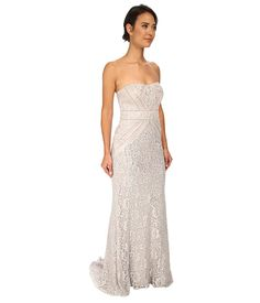 Badgley Mischka Strapless Metallic Lace Runway Gown Silver - Zappos.com Free Shipping BOTH Ways