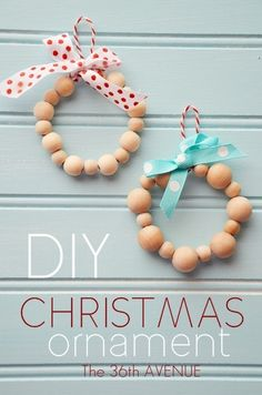 DIY Wood Bead Ornaments by the36thavenue.com; can glitz this one up by using different beads (and a Christmas charm?)