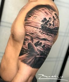 This piece represents life. I hope you like. Powered by Silvano Fiato black wash set… tattoo ink Ocean Sleeve Tattoos, Ocean Tattoos, Best Sleeve Tattoos, Tattoo Sleeve Designs, Nature Tattoos, Beach Tattoos, Bild Tattoos, Dope Tattoos, Forearm Tattoos