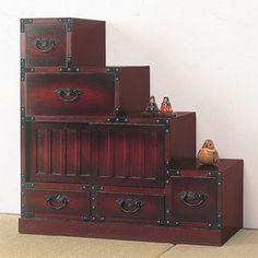 民芸調 階段箪笥 右下がり (サイドボード 飾り棚 チェスト 階段タンス 階段ダンス 和風家具 和モダン)
