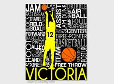 Basketball Typography Print, 8x10 Art, Perfect Sporty Girls Room Art, You Choose the Colors, Makes a Great Gift for any Basketball Lover shown in black, white and yellow