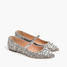 1c01d64991b Glitter Mary Jane flats with embellishments   Women flats