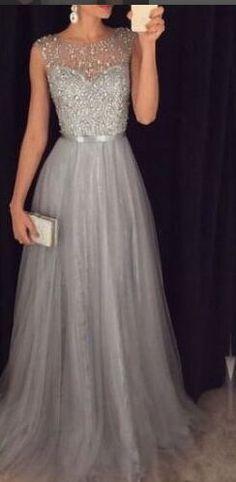 Silver Grey Handmade A-line Tulle Elegant Long Prom Dresses,Evening Dresses,Prom Dress For Teens