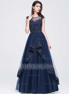 A-Line/Princess Scoop Neck Floor-Length Tulle Prom Dress With Beading Appliques Lace Sequins (018070352) - JJsHouse