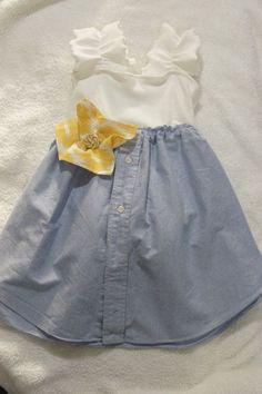 little girls dress made from t-shirt, mens dress shirt, upholstery swatches