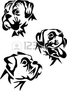 Dog Boxer Breed, Black And White Illustration Royalty Free ...