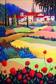Artist: Louise Marion Something very bright and cheery for you today. Artist: Louise Marion Something very bright and cheery for you today. Landscape Quilts, Landscape Art, Landscape Paintings, Paintings I Love, Owl Paintings, Naive Art, Whimsical Art, Painting Inspiration, Watercolor Art