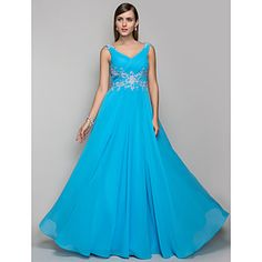 TS Couture Formal Evening / Prom / Military Ball Dress - Pool Plus Sizes / Petite Sheath/Column V-neck Floor-length Chiffon – USD $ 99.99