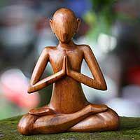 Wood sculpture, 'Meditating'