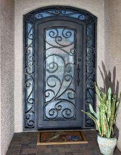 Barcelona Iron Entry Doors #Firstimpression Iron Front Door, House Front Door, House Doors, Balcony Doors, Porch Doors, Entrance Doors, Custom Exterior Doors, Doors Galore, Wrought Iron Doors