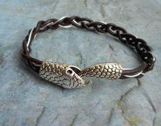 Dark brown hand braided leather bracelet / by JHFWBeadsAndFindings