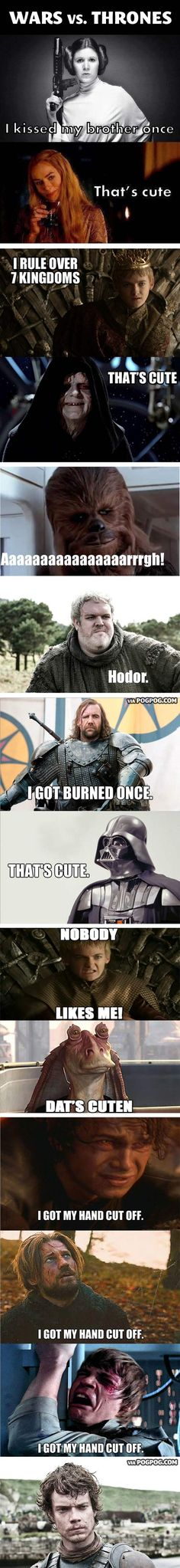 Star Wars vs. Game of Thrones… last one totally cracked me up! Its so wrong but so funny
