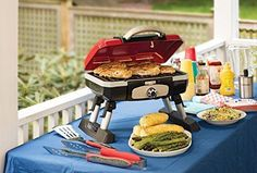 Camping Cooking Outdoor Gourmet Portable Tabletop Gas Grill Red BBQ Summer Party #Cuisinart