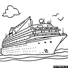 Cruise Ship Online Coloring Page