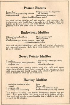 WWII / Recipies - Really want to try the Sweet Potato Muffins Retro Recipes, Old Recipes, Vintage Recipes, Cookbook Recipes, Bread Recipes, Cooking Recipes, Family Recipes, Wartime Recipes, Depression Era Recipes