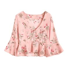 Half Buttoned Ruffles Floral Blouse ($20) ❤ liked on Polyvore featuring tops, blouses, pink blouse, flower print blouse, pink ruffle blouse, pink floral blouse and flounce blouse