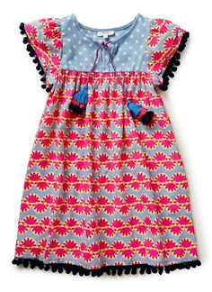 pink, black, baby blue, and bright blue toddler girl dress with tassels. Little Dresses, Little Girl Dresses, Girls Dresses, Baby Boy Outfits, Kids Outfits, My Baby Girl, Kind Mode, Cotton Dresses, Baby Dress