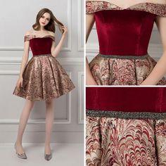 20395ef449 Moda Borgoña de fiesta Vestidos de graduación 2019 A-Line   Princess Fuera  Del Hombro Manga Corta Rebordear Cinturón Cortos Ruffle Sin Espalda  Jacquard ...