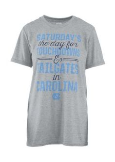 Royce Women's University Of North Carolina Touchdowns And Tailgates Short Sleeve Tee - Heather Gray - M