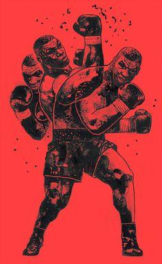 """Iron Mike"" ""x26"" 16 acrílico, digital. 2016. Salida 'Primer Tyson: indiscutible en noventa segundos' en Vice Fightland. en fresco"