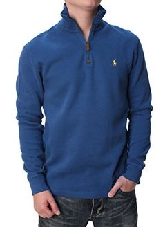 Polo Ralph Lauren Men's Half Zip French Rib Cotton Sweater $ 95.00 Pullover Sweaters Product Features Authentic Polo Ralph Lauren 100% cotton Soft stretch knit Ribbed collar and cuffs Embroidered pony logo Pullover Sweaters Product Description Polo Ralph Lauren Men's 1/4 Zip Pullover Sweater Features:Soft stretch knitRibbed stand-up collarSuede zipper pullRibbed cuffsSplit hemEmbroidered pony logo at left chestFabric: 100% Cotton Related Pullover Sweaters Products ..