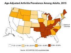Map of the United States, showing the prevalence (percent) of adults who reported having arthritis, by state: Alabama (AL) 30.4 percent; Alaska (AK) 21.5 percent; Arizona (AZ) 21.8 percent; Arkansas (AR) 27.1 percent; California (CA) 18.3 percent; Colorado (CO) 21.8 percent; Connecticut (CT) 21.6 percent; Delaware (DE) 24.6 percent; District of Columbia (DC) 19.9 percent; Florida (FL) 21.5 percent; Georgia (GA) 23.6 percent; Hawaii (HI) 17.2 percent; Idaho (ID) 23.2 percent; Illinois (IL)…