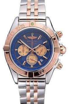 Replica Breitling Chronomat Blue Dial Stainless Steel Case Rose Gold Bezel And Subdials Two Tone Bracelet Watch