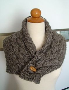 Cowl/ Scarf/ Neck Warmer Handknit Brown Cabled in by LaimaShop, $60.00