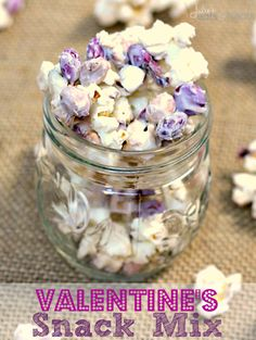 Valentine's Day Snack Mix ~ Popcorn, Peanuts and M&M's coated in White Almond Bark! An Easy Sweet Treat for Your Sweetie!