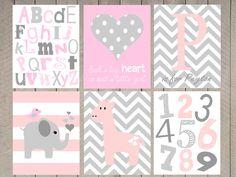Baby girl nursery prints  pink and gray nursery door ArdenRaeDesigns, $16.00