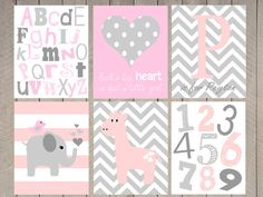 Baby girl nursery prints  pink and gray nursery by ArdenRaeDesigns, $16.00