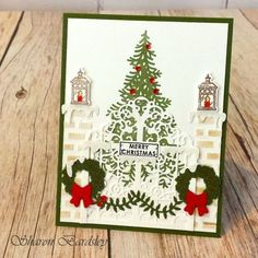 Stampin' Up! Ready For Christmas, At Home With You, At Home Framelits, Detailed Gate Thinlits, Watercolor Pencils, Dazzling Diamonds Glimmer Paper, Pattern Party Decorative Masks, Embossing Paste, MB dies
