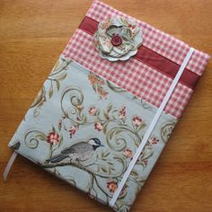 Aqua Bird and Red Gingham Composition Notebook Cover by mllevaleur