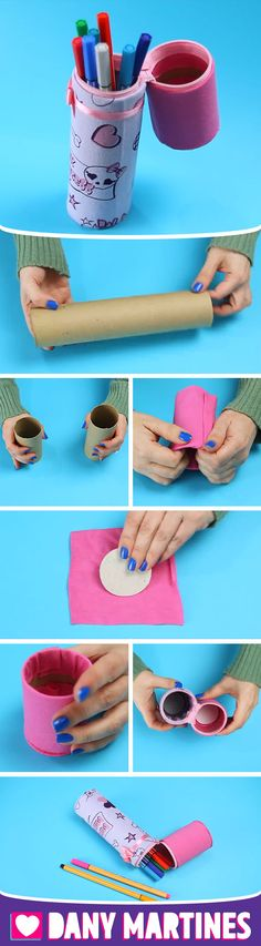 Diy Crafts For Girls, Diy Crafts Hacks, Crafts To Make, Zip Pouch Tutorial, Ideias Diy, Preschool Crafts, Ideas, Pencil Holders, Hand Embroidery Flowers