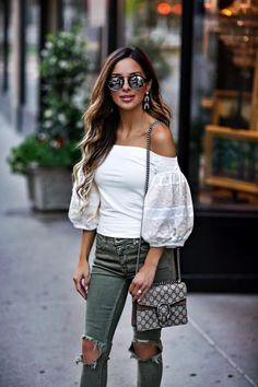 Under $100: Boho Summer Vibes - Outfit Details: Free People Off-The-Shoulder Top Free People Ripped Jeans BaubleBar Earrings Illesteva Sunglasses Gucci Dionysus Bag Vince Camuto Slides June 26th, 2017 by maria