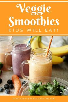 Hidden veggie smoothies that your kids will actually eat! Make them and see which one they love most. #smoothies #kids #veggiesmoothies #recipe #recipeof