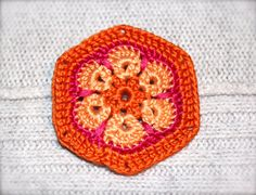 Crochet Flower Brooch Pin African Flower by CatWomanCrafts on Etsy, $10.00