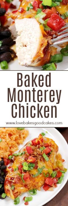 Baked Monterey Chicken - baked chicken slathered with BBQ sauce and topped with two kinds of cheese, bacon, tomatoes, and green onions. Make dinner delicious tonight!