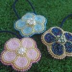 キラキラお花ヘアゴム(ビーズ刺繍)