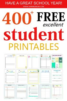 Click to grab over 400 student free printables for free! Includes the very best organizers for students like assiggbment log, grade tracker, study planner, homeschool planner and more! #freeplanners #freeprintables #student #studentprintables #backtoschool