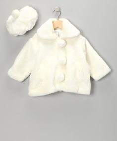 Take a look at the Ivory Coat & Beret - Infant, Toddler & Girls on #zulily today!