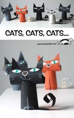 Quem não adora os felinos? São muito lindos, não? Que tal juntar a criançada e fazer vários gatinhos de papelão? Estes são do site Krokotak.