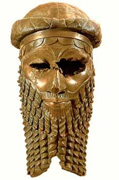 Bronze head of a king, perhaps   Sargon of Akkad, from Nineveh,   Akkadian period, c. 2300 BCE.
